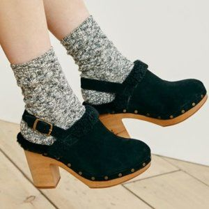 "Madewell Shearling Clogs Black Size 8 in ""the Lesl"